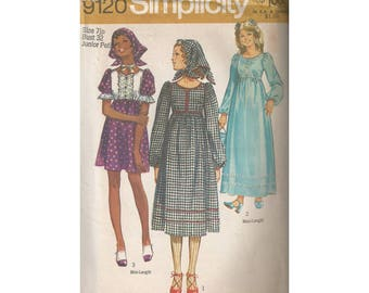 1970s Dress in 3 Lengths with Triangle Scarf Simplicity 9120 Junior Size 7 Bust 32 High Waist Midi Mini Maxi Uncut Vintage Sewing Pattern