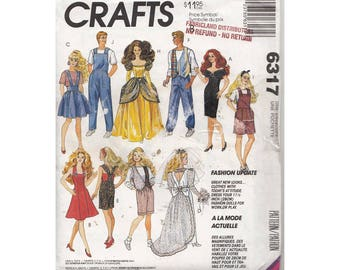 1990s Barbie and Ken Fashion Sewing Pattern McCalls 6317 Overalls, Ball Gown, Romper, Vest, Cocktail Dress, Wedding Dress Sun Dress
