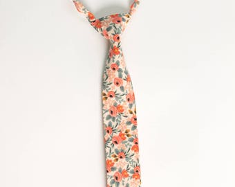 Necktie for newborn, baby, toddler, teen. Rifle Paper & Co Rosa in Peach Floral Tie. Skinny or Standard Width- FREE SHIPPING