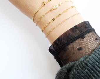 Bracelets chaîne fine x 1 - Plaqué or // Thin chain x 1 gold filled bracelet