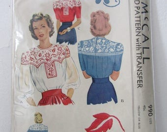 1940s Vintage Embroidered Peasant Blouse Pattern