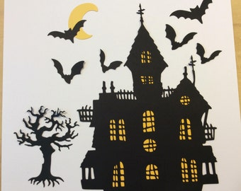 Handmade, Halloween, Haunted House, Black, Yellow Lights, Black Bats, Black Scary Tree, Yellow Moon, Crooked Crosses on Top