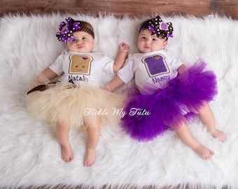 Peanut Butter and Jelly Twin Girls Tutu Set-Peanut Butter and Jelly Halloween Costumes for Twins-PB&J Birthday Tutu Set *Bows NOT Included*