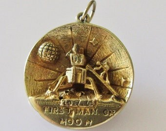 Large Gold First Man on Moon Charm or pendant