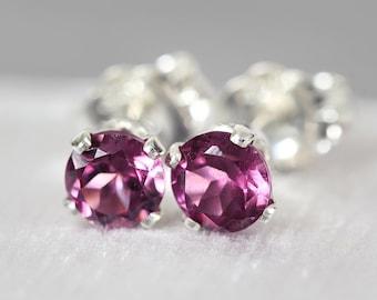 Rhodolite Stud Earrings - Rhodolite Studs - Rhodolite Garnet Jewelry - January Birthstone - Rhodolite Garnet Studs - Rhodolite Earrings