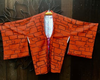 Vintage 1960's Japanese Kimono Jacket, Kimono Jacket/Top, Haori Jacket, Asian, Ethnic, Bohemian, Festival Wear