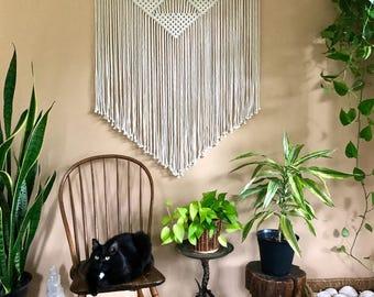 "Large Macrame Wall Hanging - Natural White Cotton Rope 36"" Dowel - Geometric Boho Home, Nursery, Wedding Decor, Curtain - Ready To Ship"