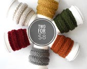 2 for 8, Coffee Cozy Sale, Tea Cosy Starbucks Fall Accessory Autumn Style / Coffee Cozy Knit Cup Sleeve / Knit Coffee Cosie Sleeve Tea