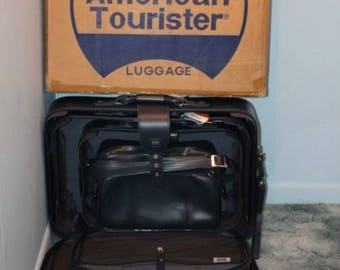 Vintage 1970s 4 Four Piece Blue American Tourister Luggage Set Suitcase Carry On