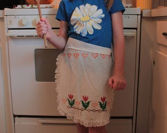 vintage hand embroidered child's apron