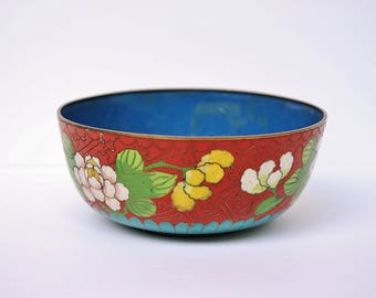 Antique Cloisonne Chinese Enamel Rice Noodle Bowl, Blue Red Peonies Brass Base Metal
