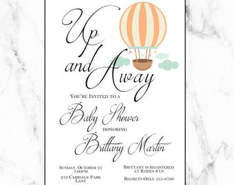 Up and Away. Hot Air Balloon Invitation. Digital Print. Vintage Baby Shower. Hot Air Balloon Theme. Gender Neutral Baby Shower. Travel Theme
