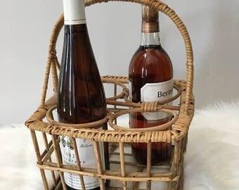Wine Tote / Rattan and Wicker / 4 Bottle Wine Tote / Bohemian Bottle Tote / Wine Basket