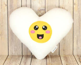 Egg Plush Toy, Egg Soft Toy, Breakfast Plushie, Breakfast Lovers Throw Pillow, Novelty Room Decor, Cute Kawaii Heart Shaped Egg, Geeky Toy