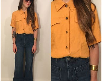 Vintage 90s Mustard Yellow Button Up Short Sleeve Top Size Small