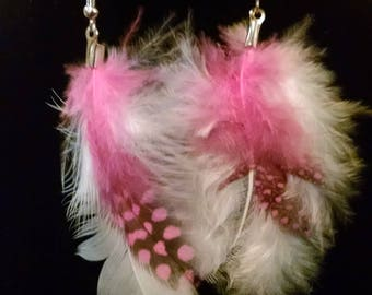 White and pink dangle feather earrings