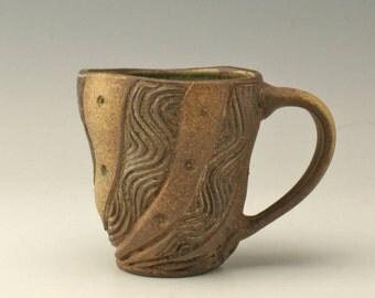 pottery mug with swirl carving, ceramic mug with swirls, coffee mug, wheelthrown mug, carved mug, stoneware mug, potterybyshikha, Shikha