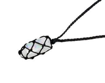 Angel Aura Quartz Necklace, Opal Aura Quartz Necklace, Healing Crystal Necklace, Angel Aura Crystal Necklace, Raw Quartz Necklace