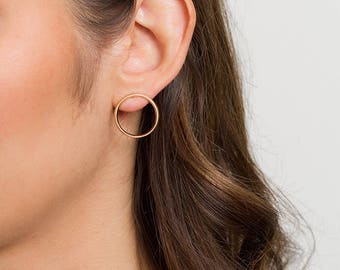 Angle Flat Hoop Earrings - Slim - Minimalist Round Earrings - Brass or Silver by CamilletteJewelry