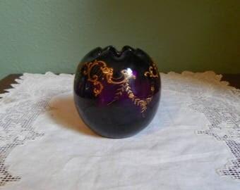 Antique Amethyst Rose Bowl VASE Miniature Mini Glass Victorian Hand Painted rib optic raised enamel scene