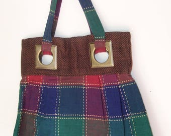 Pleated PLAID HANDBAG Purse Brown woven with Burnished metal Rings Upcycled OOAK Handmade