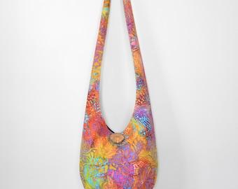 Hobo Bag Boho Bag Hippie Purse Crossbody Bag Sling Bag Bohemian Purse Hobo Purse Hippie Bag Batik Tie Dye Batik Hobo Bag Handmade Fabric Bag