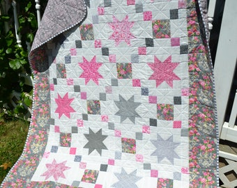 Modern Quilt Handmade Homemade Quilts Shabby Elegance Traditional Stars Quilt Gray and Pink Throw size Generous Lap Quilt