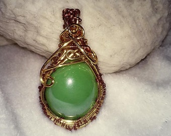 Misty Green Stone Wrapped Copper Brass Pendant Necklace / Wire Wrapped Jewelry