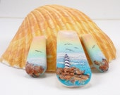 StudioStJames Handcrafted Polymer Clay Statement 3 Piece Cabochon Set-Beach-Ocean Sunrise-Lighthouse-Beach-Yellow Pink Blue-PA 100594