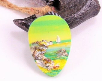 StudioStJames Artisan Crafted Polymer Clay 26x38 mm Focal Cabochon Pendant-Nautical Seascape-Sailboats and Beach Bead-Green Yellow-PA 100768