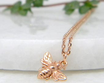 Bee Necklace, Rose Gold Bee Necklace, bumblebee necklace, rose gold honey bee necklace, initial necklace, Gift for Her, Bee Charm Necklace