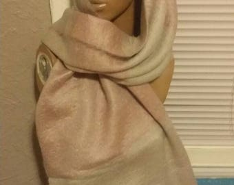 Handknitted pink and grey extra long scarf
