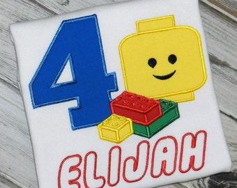 Lego Birthday Shirt / Personalized / Blocks / Lego Head