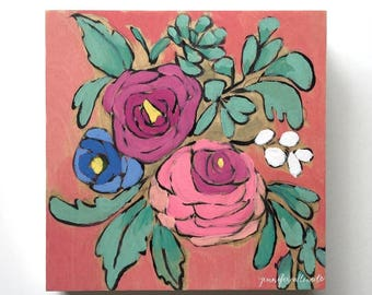 Original abstract flower bouquet painting wall art - A Bouquet for Annie