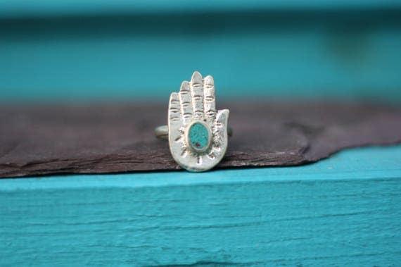 VINTAGE HAMSA RING - Turquoise Ring - Hand of fathima - Faith - Crystal Ring - Gemstone Ring - Spiritual - Bespoke - Antique Ring - Gift