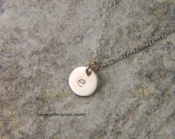 Gold Initial Necklace 7 mm White Gold Disc Necklace Personalized Gold Necklace 14K Gold Necklace White Gold Jewelry