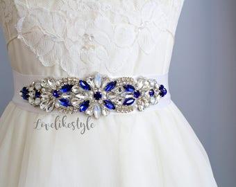 Blue Stone Sash Belt,Wedding Belt, Bridal Sash Belt, Blue and Crystal Stone on White Ribbon Sash, Bridesmaid Sash, Flower Girl Sash