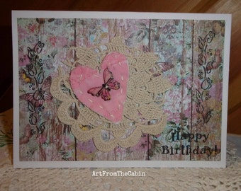 Butterfly Birthday Card, Floral Birthday Card, Pink Birthday Card, Cutter Heart, Vintage Doily, Stamped Card, Original Card, ArtFromTheCabin