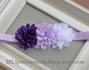 Purple, Lavender, and White Baby Girl Headband - Flower Hair Bow with Light Purple for Babies, Toddlers and Little Girls
