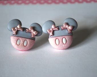 Minnie Mouse Earrings -- Minnie Mouse Studs, Pink and Grey