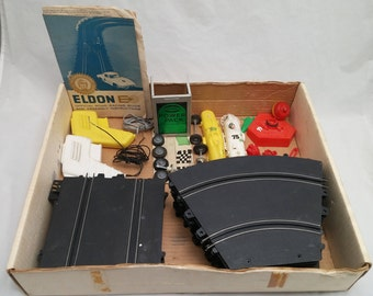 "Vintage 1960s ELDON E 1/32"" Slot Car Set - Partially Complete, lots of great parts to complete your set!"