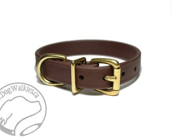 "Dark Chocolate Brown 3/4"" (19mm) Beta Biothane Dog Collar - Leather Look and Feel - Custom - Stainless Steel or Solid Brass Hardware"