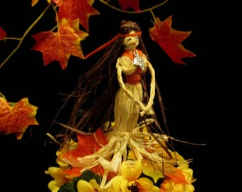 Handmade Mabon Pagan Goddess Sabbat Decoration. Harvest Fall Altar Figure.