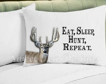 Hunting pillowcase, gift for hunter, valentines day gift, fathers day gift, outdoors gift, custom pillowcase, personalized pillowcase