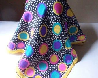 Bright Polka Dot Scarf, Multi Colored Polka Dot Scarf with Yellow Border