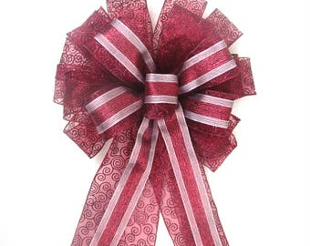 Cranberry Bow / Pink and Cranberry Bow / Christmas Tree Topper Bow / Christmas Bow / Tree Topper Bow / Wreath Bow / Tree Topper