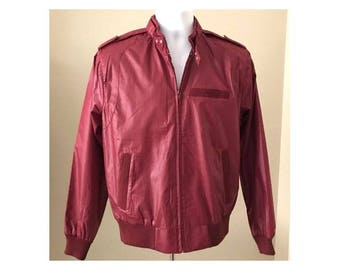 VINTAGE 1980's Racer Jacket Members Only Style Solid Burgundy Maroon Zip Up Jacket  Men's Size MEDIUM Excellent Condition