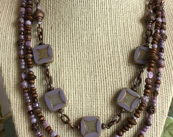 Lilacs in Bloom necklace, Czech glass lavender square beads, wood, and copper beads and chain