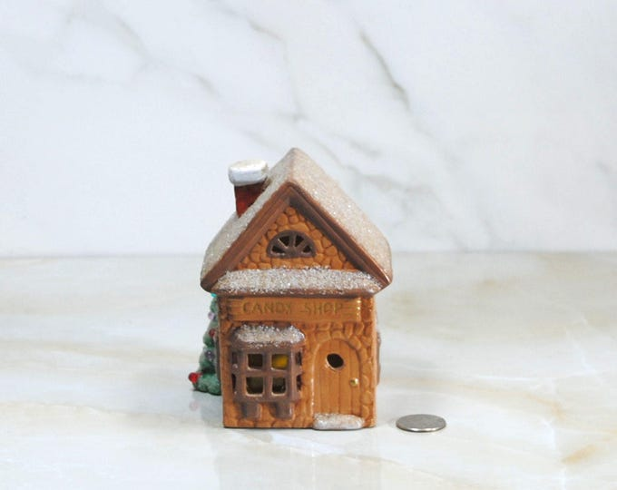 Vintage Christmas Decoration, Candy Shop, Handcrafted, Hand Painted, Christmas Town, Ceramic, Vintage Diorama, Christmas Scene