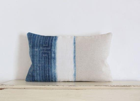 """Vintage Hmong batik lumbar pillow cushion cover 12""""x 20"""""""